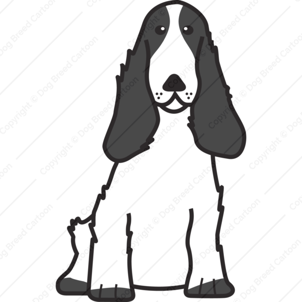 english cocker spaniel black and white edition dog breed cartoon download your breed now. Black Bedroom Furniture Sets. Home Design Ideas