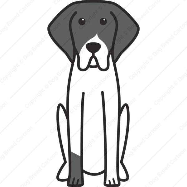 French White and Black Hound Cartoon