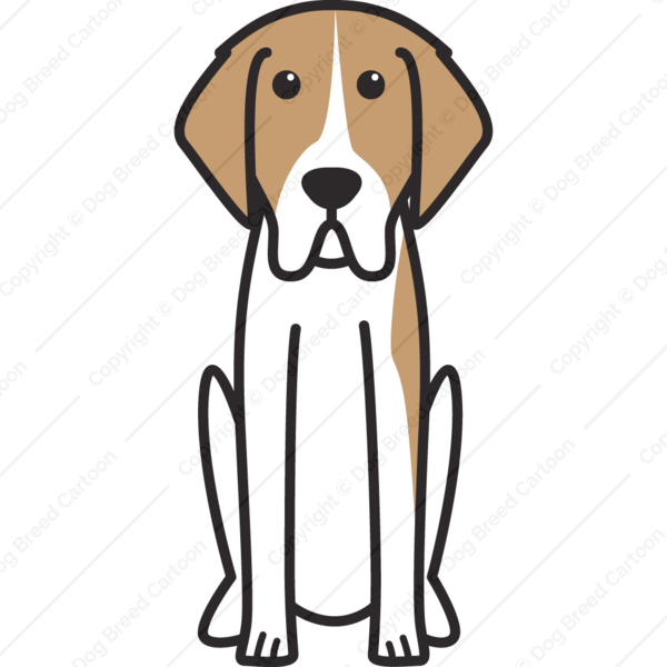 French White and Orange Hound Cartoon